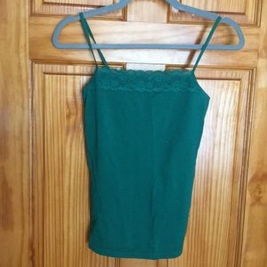 Emerald Green Lace Trim Limited Tank Top
